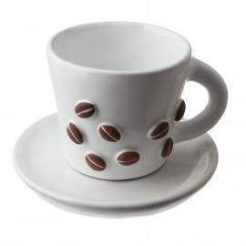 """Espresso hrnček s podšálkem """"Kávová zrnka''"""