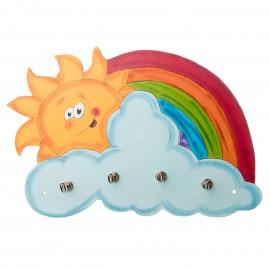 Dětský věšáček na zeď usměvavé sluníčko a duha