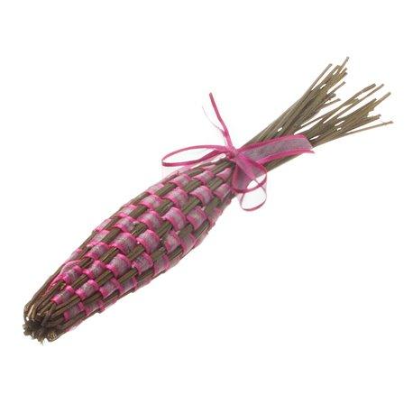 Originální pletená palice levandule s vínovou stužkou