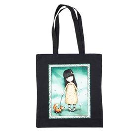 """Nákupní látková taška na rameno """"Elegantní panenka Santoro s liškou"""""""