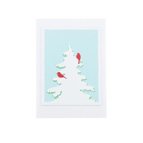 """Zimní přáníčko """"Ptáčci na zasněženém smrčku"""""""