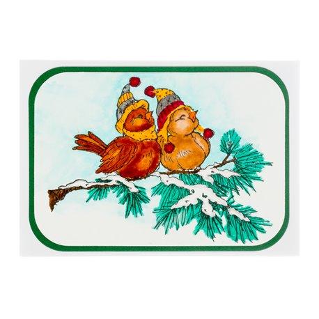"""Přáníčko """"Dva ptáčci v čepičce"""""""