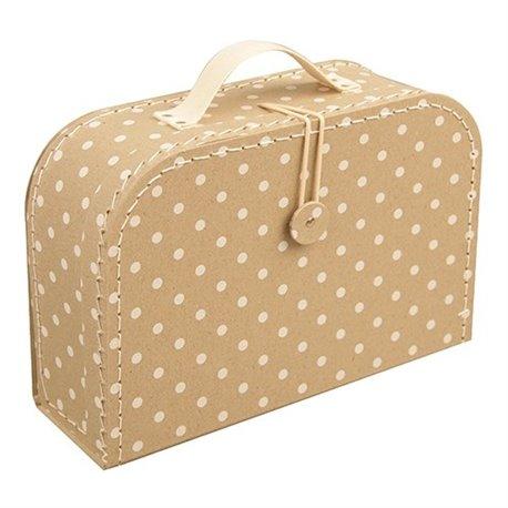 Krémový puntíkatý kufřík 25 cm
