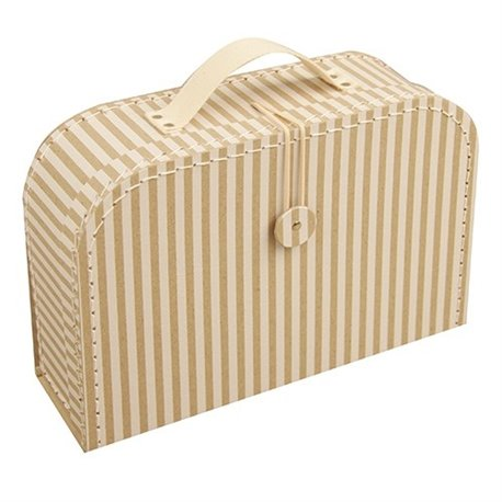 Proužkatý krémový kufřík 25cm