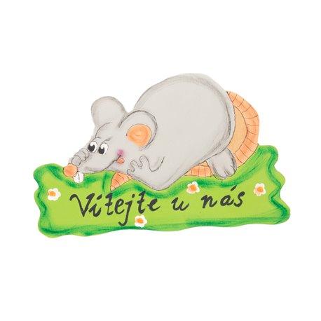 Dřevěná uvítací cedulka myšák