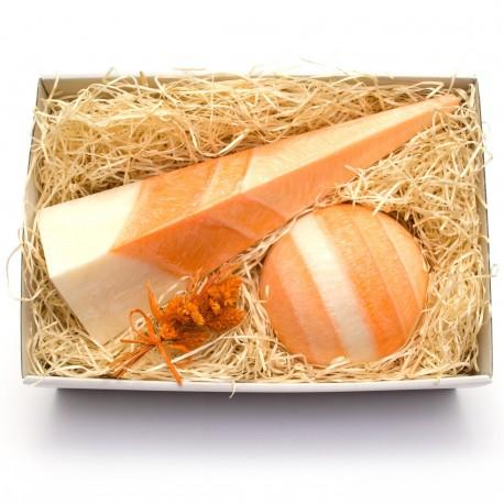 Svíčkový dárek oranžová geometrie