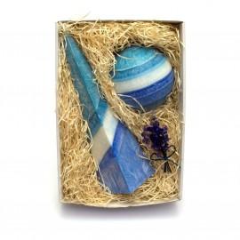 Svíčkový dárek modrá geometrie